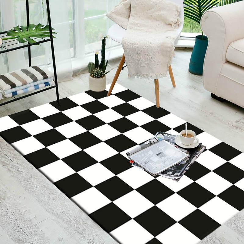 Black And White Geometric Kitchen Rug: European Geometric Black And White Carpet Area Rug For