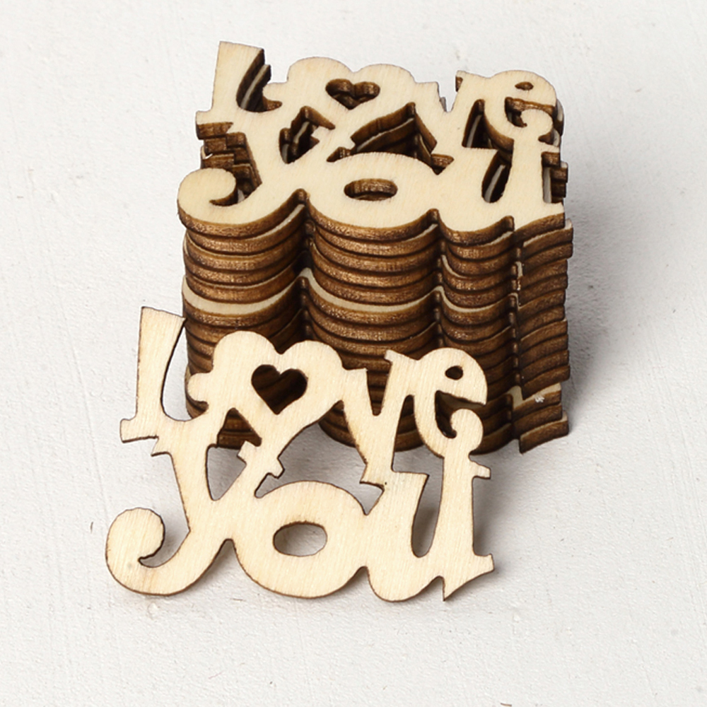 "15Pcs/Lot ""I Love You"" Laser Cut Wooden Slice Mother's Day Hanging Ornaments Hand Wood Party Wedding Decor DIY Crafts Supplies"