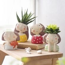 Flower Girl Planter Set - 4pcs European Style Succulent Plants Planter Pot Mini Bonsai Cactus Flower Pot Home Decor C