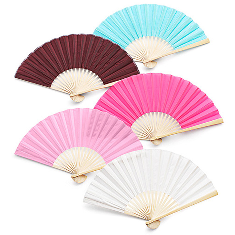 50Pcs Free Shipping Wholesale Personalized Logo On Bamboo Silk Folding Hand Fan Customized Wedding Favors For Guests+Organza Bag