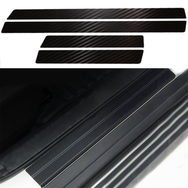 For Nissan Xtrail Rogue 2014 Door Sill Scuff Welcome Pedal Threshold Carbon Fiber Sticker Full Protect Welcome Pedals Car Covers