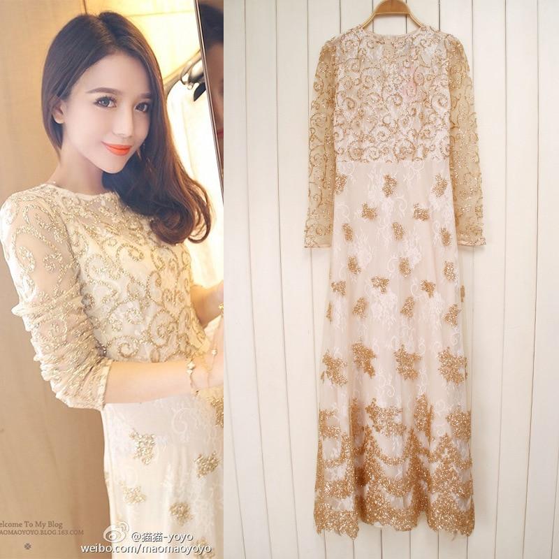 Online Shop New sequined golden sparkle party dress long sleeve lace ...