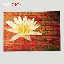 Custom Soft Fleece Throw Blanket Rustic Lotus Flower on Grunge Red Brick Wall Floral Ornamental Modern Pattern Yellow White(China)
