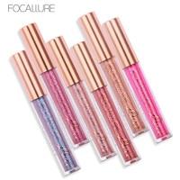 Focallure 6 pz/set trucco metallico rossetto glitter lip gloss impermeabile liquido opaco batom maquiagem magia nude shimmer labbra