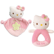 1 piece High quality New Cartoon Animal cat Hand bell Soft Pink Kitty plush Rattle Cute Soothing towel Baby Toys(China)