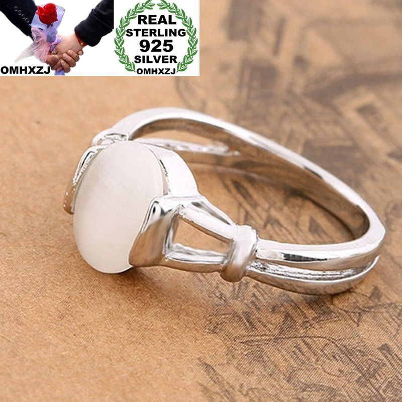 OMHXZJ Wholesale European Fashion Woman Girl Party Wedding Gift Silver White Oval Moonstone 925 Sterling Silver Ring RR96