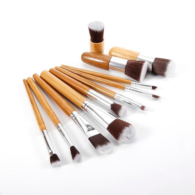 11 PCS Bamboo Handle Makeup Brushes Powder Concealer Foundation Brush Facial Mask Beauty Face Make up Brush Cosmetics Tools Set 2