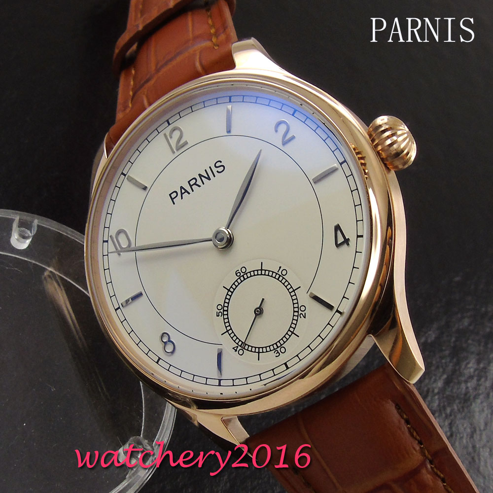 Parnis New 44mm white dial rose golden case 17 jewels hand winding 6498 movement Men's WristWatch corgeut 44mm white dial rose golden case hand winding 6498 mens watch