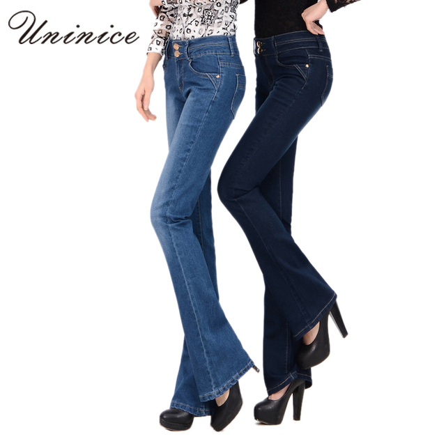 2017 New Women Flare Pants Autumn Long Blue High Waist Jeans Female Korean Style Denim Women Flare Pants Slim Women Skinny Jeans