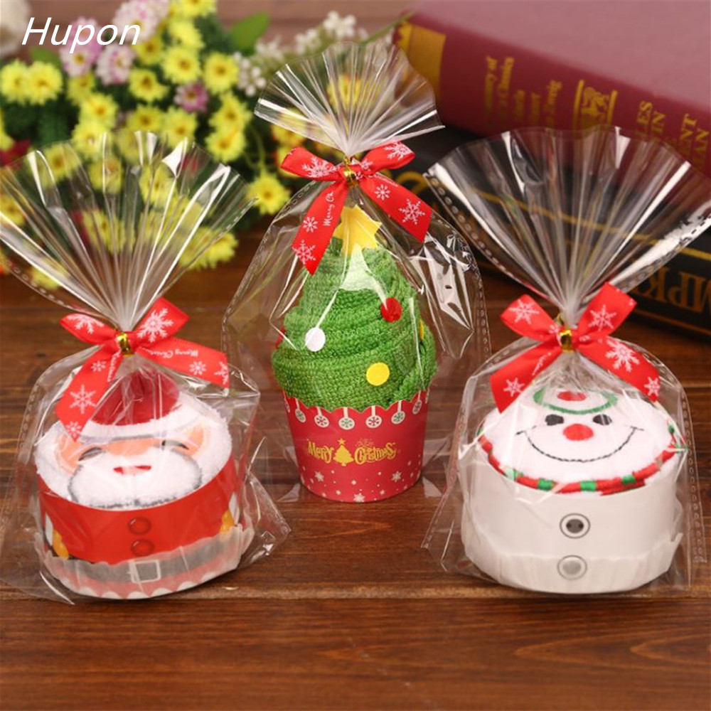Santa Claus Christmas Tree Cupcake Cotton Towel 30*30cm Boy Girl Baby Shower Birthday Party Favors Christmas Gifts for Guests