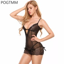 Transparent Floral Lace Lingerie Sexy Erotic Hot Women Short Mini Babydoll Dress Underwear Nightwear Sex Costume Porno Clothes