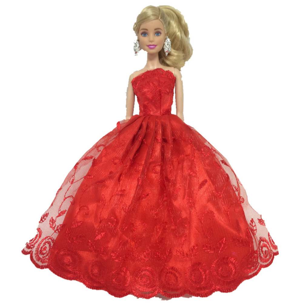 NK One Pcs Handmade Princess Wedding Dress Noble Party Gown For Barbie Doll Fashion Design Outfit Best Gift For Girl' Doll 021H doll wedding dress 100% handmade warm red luxury crystal bride wedding doll big trailing evening gown for barbie doll