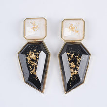 PPG&PGG fashion jewelry women Za black resin earring vintage statement bib drop Earrings for women jewelry wholesale(China)