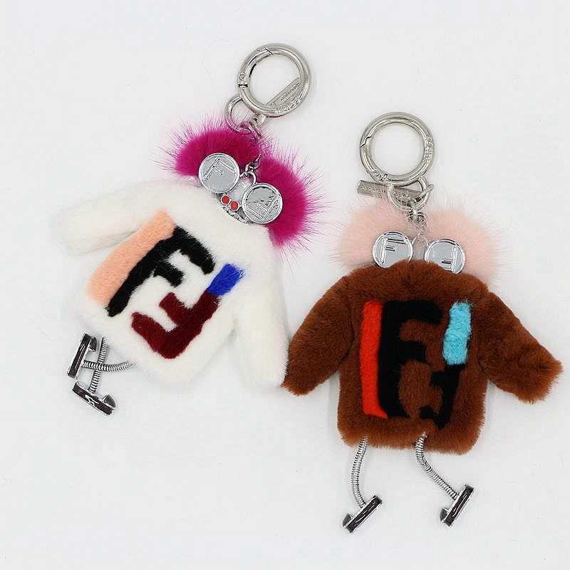 Mink Fur animal KeyChain Women Bug Witches Monster Bag Charm Cute silver Robot Luxury Pendant Genuine Pompom Rabbit Fur Keyring