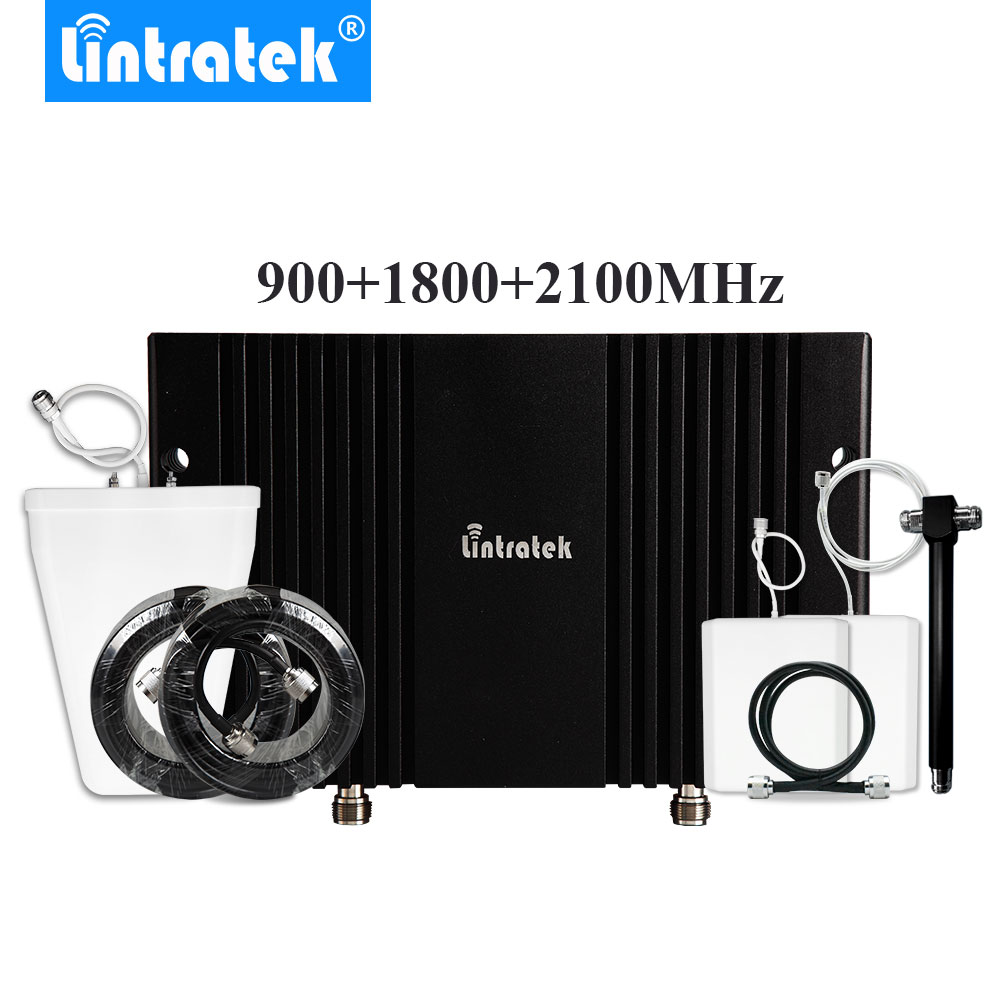Powerful Tri Band 2G 3G 4G Signal Booster 900+1800+2100MHz Mobile Cell Phone Signal Amplifier Two Antennas Set For Big Coverage#