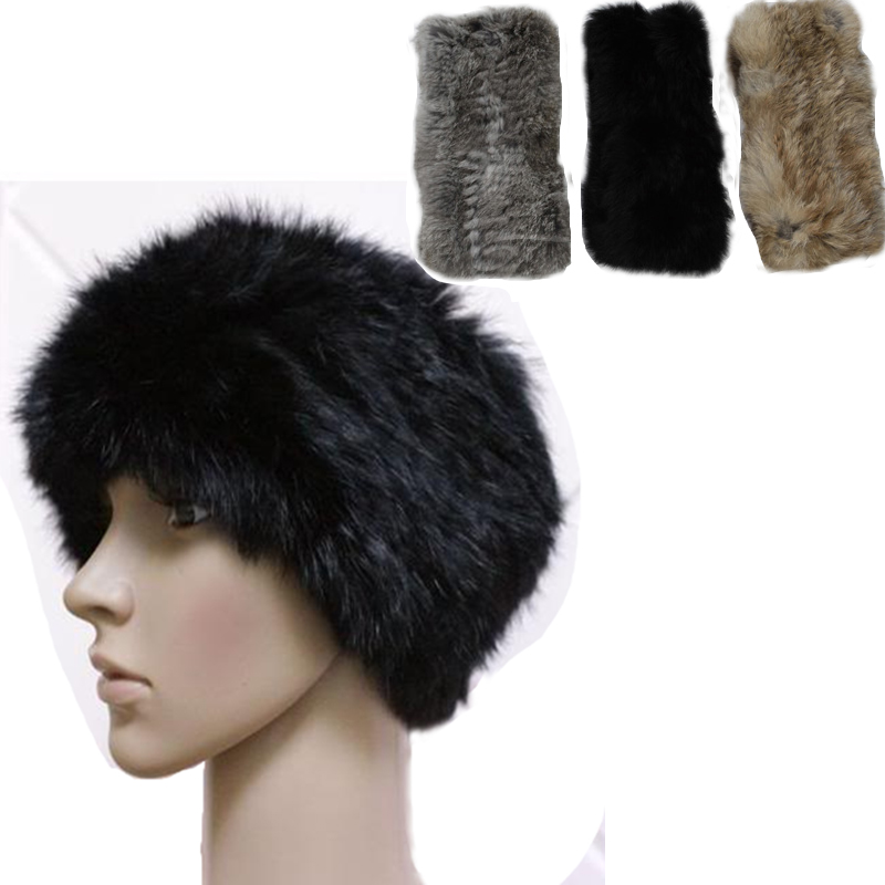 e5b78fcd219 Women Elastic Real Rabbit Fur Knit Headband Scarf Neck Wrap 2way Loop Scarf  Winter Warm Hair