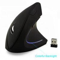 무선 마우스 인체 공학적 광학 2.4g 800/1200/1600 인치 당 점 다채로운 빛 손목 치유 수직 마우스 마우스 패드 pc 노트북