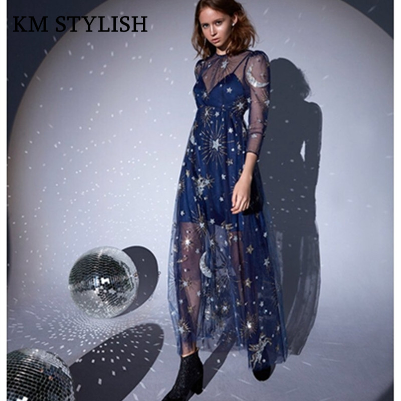 2018 spring new Thailand tide brand twinkling star moon fantasy dress mesh sling liner long dresses female