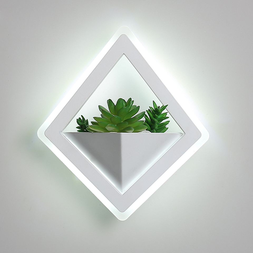 Nordic plant wall lights Creative bedside bedroom sconce living room simple modern aisle acrylic modern Indoor