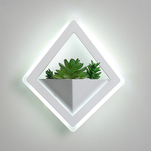 Nordic plant wall lights Creative bedside bedroom sconce living room simple modern aisle acrylic modern  Indoor LED wall lamp цены