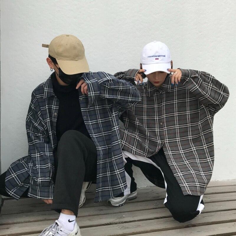 Privathinker Men Plaid Shirts 2018 Mens Streetwear Long Sleeve Shirts Male Autumn Oversized Korean Fashion Plus Size Clothing