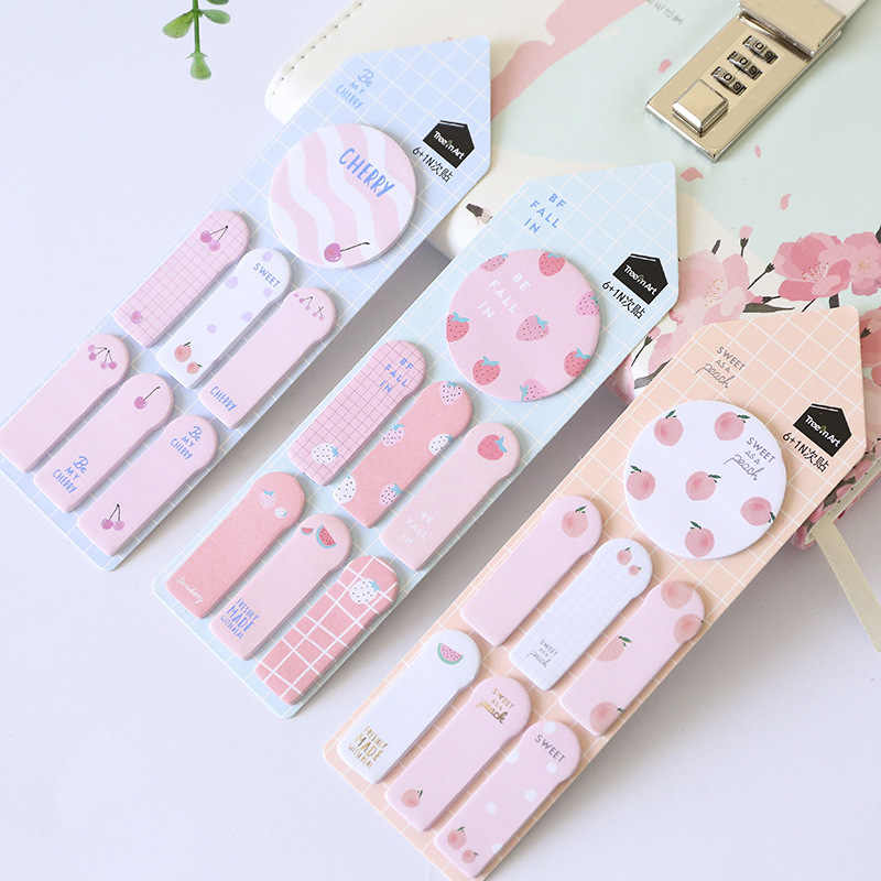 1Pc Leuke Kawaii Memo Pad Sticky Notes Briefpapier Sticker Index Geplaatst Planner Stickers Blocnotes Kantoor Schoolbenodigdheden