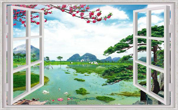 New Large Wallpaper Custom Scenery Outside Window Mural Wall Paper Papel De Parede Stickers Free Shipping8605 Mu In Wallpapers From Home