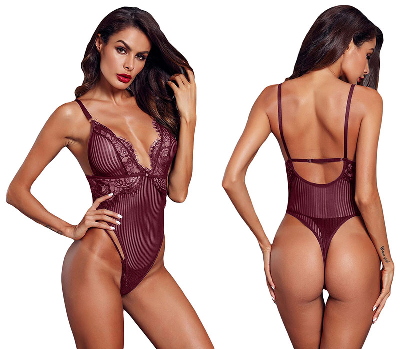 Wine-Red-Striped-Mesh-Bodysuit-LC32223-103-3