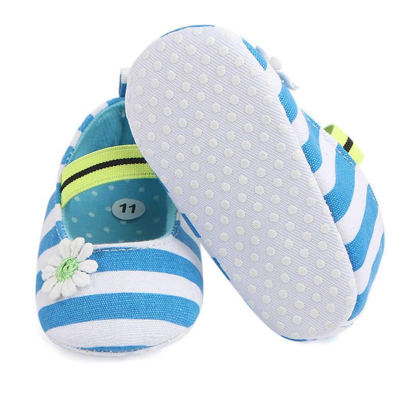 أحذية أطفال خريفية ربيعية للبنات لحديثي الولادة أحذية أطفال بنعل ناعم مزهرة أحذية الأميرة مخططة مضادة للانزلاق أحذية Prewalker