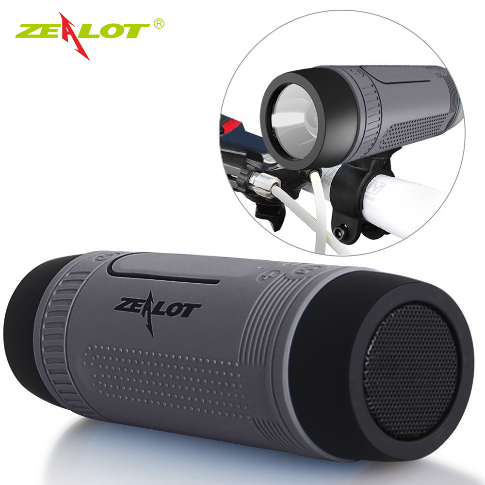 Zealot S1 Bluetooth Speaker Outdoor Bicycle Portable Subwoofer Bass wireless Speakers Power Bank+LED light +Bike Mount+Carabiner exrizu ms 136bt portable wireless bluetooth speakers 15w outdoor led light speaker subwoofer super bass music boombox tf radio