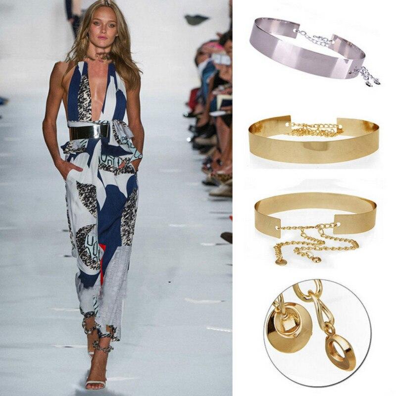 Apparel Accessories Strict Women Full Metal Waist Mirror Wide Gold Silver Plate Waistband Chains Belt