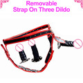 Removable Strap On Dildo Lesbian Sex Toy Three Dildo With Strap ons harness Strapon Penis strap-on Anal Plug Vibrator For Couple