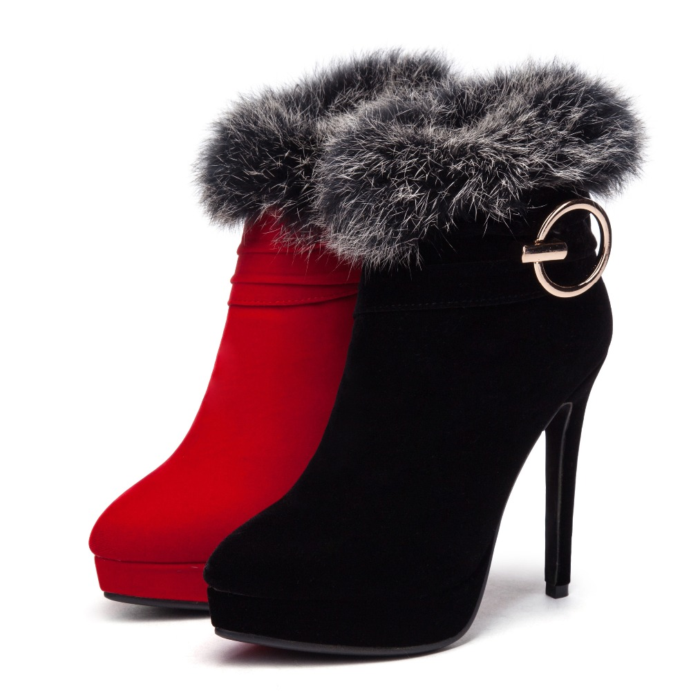 Bottes D'hiver Élégantes Rouge red Sexy En Plate Dames Décoration Métal Black Femmes 2019 Plume forme Stilettos De Mode Zipper Talons Chaussures hCsrBQtxd