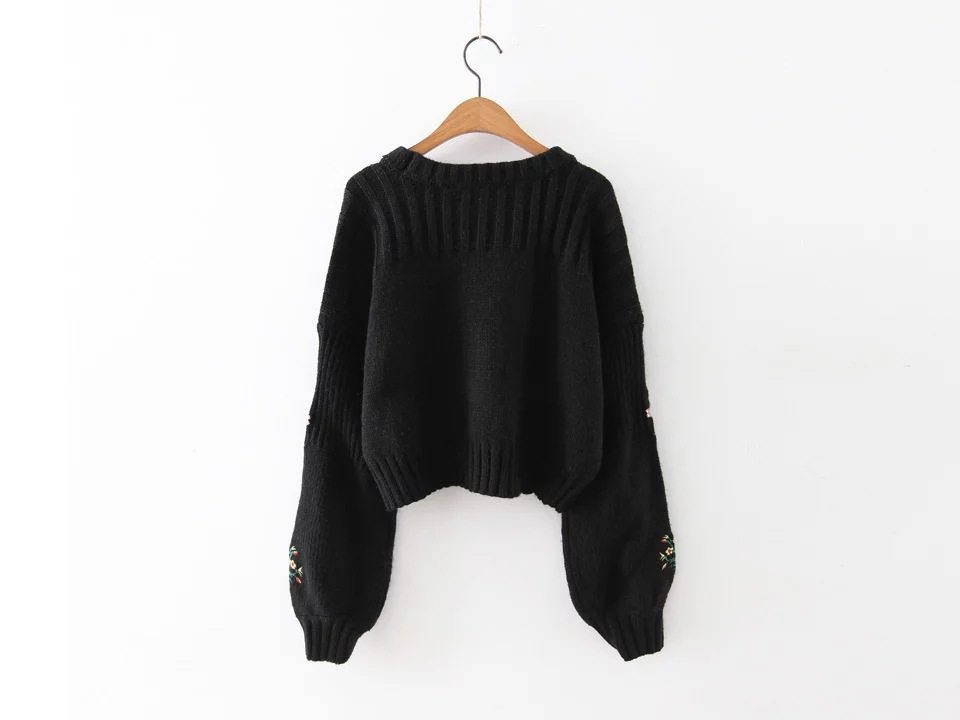 8533 Black Europe Knitted 2017 New Pullovers United Rabbit Fall Flower white A0808z10 And Embroidery The States Wool ZS6wZqdg