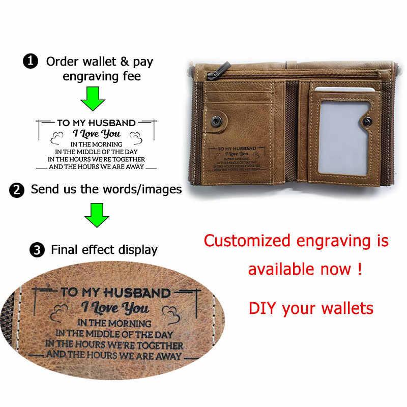 100% натуральная кожа мужской небольшой бумажник на молнии карманные мужские кошельки Portomonee мужской короткий брендовый Кошелек для монет Perse Carteira для Rfid