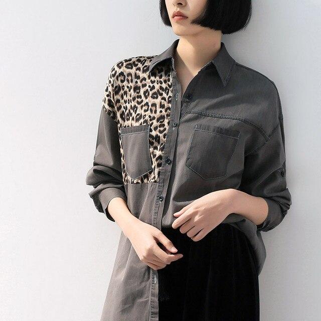 2019 весенние офисные женские рубашки с леопардовым узором, дизайн с вышивкой, модные джинсовые рубашки с карманами, лоскутный отложной воротник