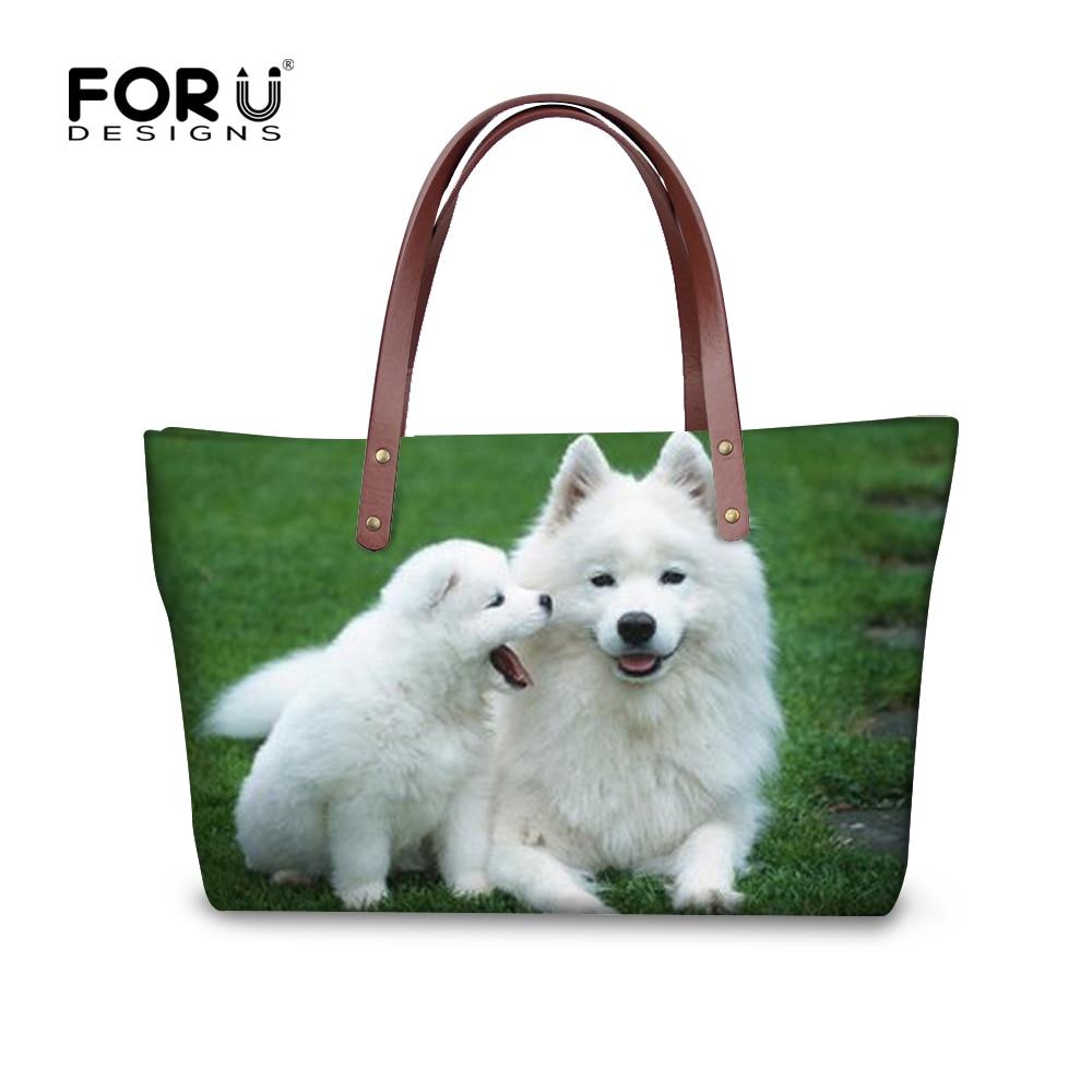 Forudesigns bolsos american eskimo dog impresión femenina de las mujeres bolso d
