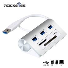 Rocketek multi usb 3 0 hub 3 port Aluminum adapter splitter SD TF CF Card Reader