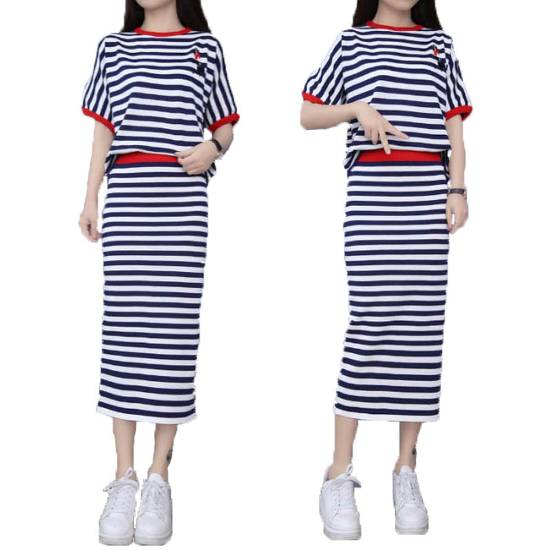 f7e637a26705 tnlnzhyn 2017 Spring Summer Women knitted Suit Short sleeves Skirt Dress  ladies Skirt Suits 2 pieces Suits Sets Dress Y262-in Women s Sets from  Women s ...