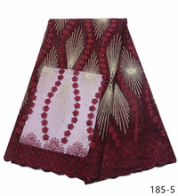 2019 Latest Wine red Laces Fabrics High Quality Tulle African Fabric For Wedding Dress French Lace 185