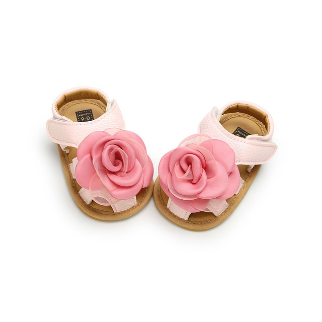 2019 Cute Flower Baby Girls Summer Sandals Infant Toddler Shoes Solid Sole Baby Girls First Step Shoes Bebe Moccasins PU Leather