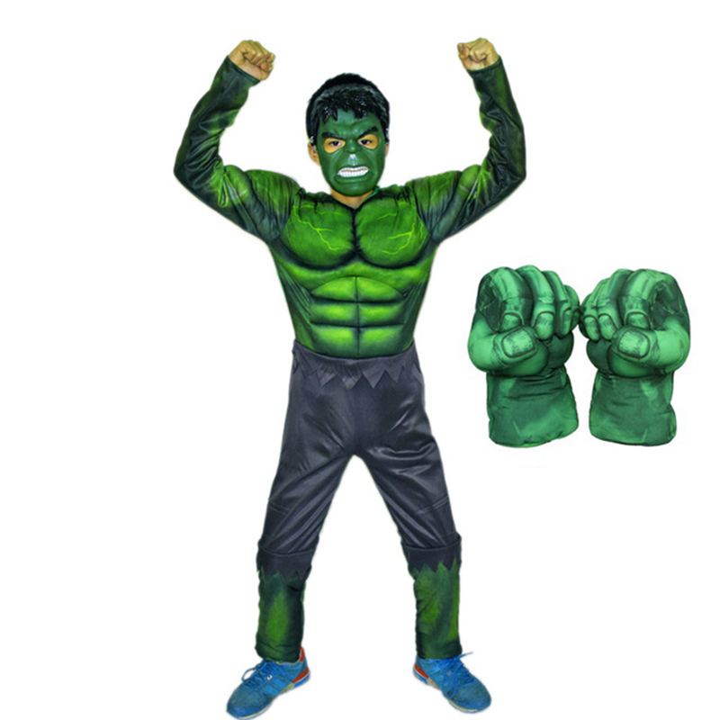 SuperHero Kids Muscle Hulk Cosplay Costumes Clothes With Gloves  Child Spiderman Super Hero Halloween Children's Day Gift