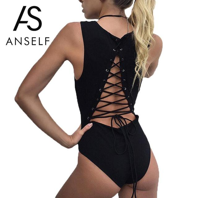 6c287c5267d6 Anself Summer Sexy Lace Up Bodysuit Women Sleeveless Tie Back Bodycon  Jumpsuit Backless Rompers Womens Jumpsuit