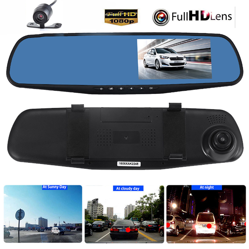 купить Vehemo 4.3  Dual Lens Car Dvr detector Camera Blue Review Mirror DVR Digital Video Recorder Auto Camcorder Dash Cam FHD 1080P недорого