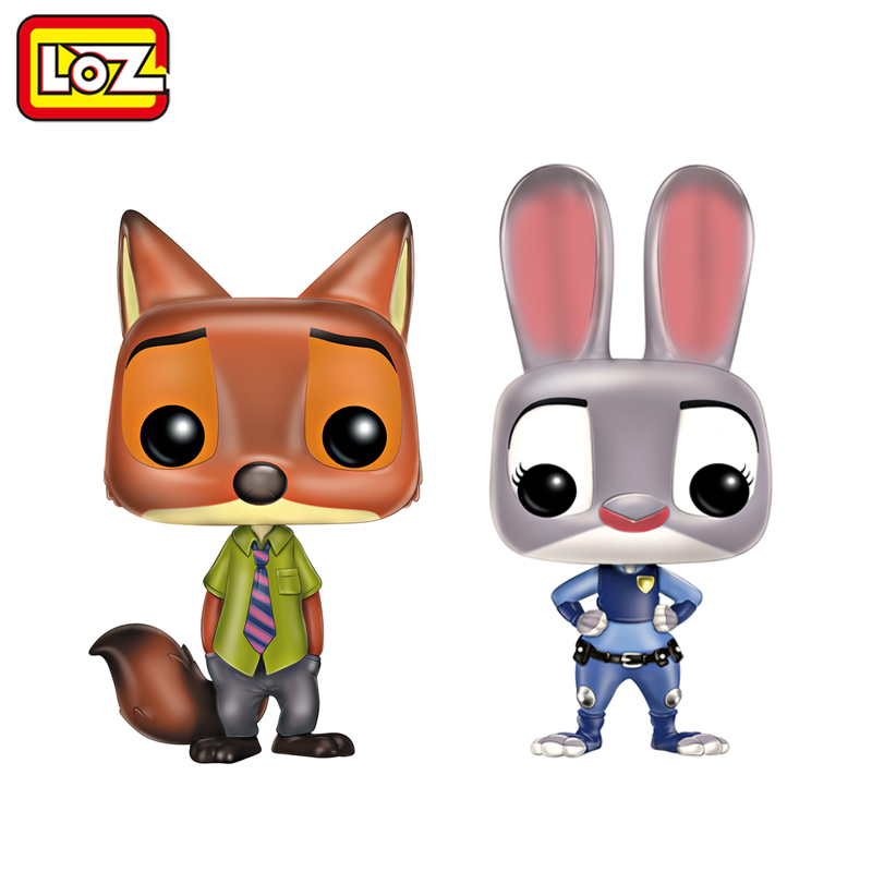 LOZ Zootopia Nick Judy Animal Vinyl Figures Collection Models Puppet Action Figure Toy 10cm-12cm wiben animal hand puppet action