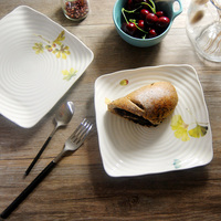 Bone China 8 Inch Dishes Plates Ceramic On Glazed Square Plate Sushi Cake Dessert Thread Dish