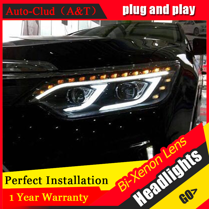 Car Styling New Arrival Headlight for Toyota Camry V55 headlights 2015 Camry LED Headlight led drl H7 hid Bi-Xenon Lens low beam for toyota camry led headlights car styling 2015 for camry xenon headlights led drl light guide bifocal lens headlight light