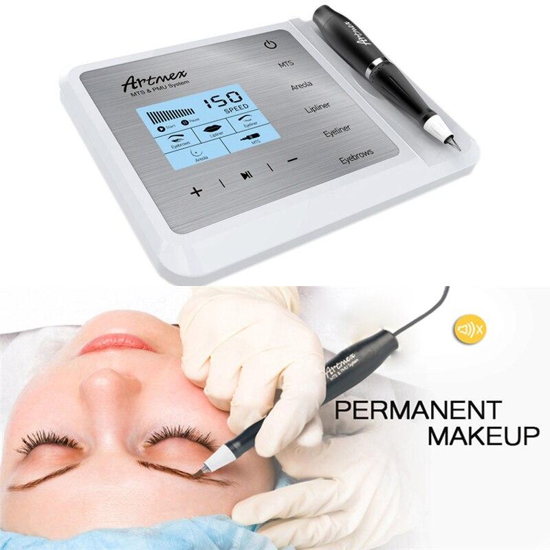 Artmex V9 Eye Brow Lip Rotary Caneta Tatuagem Maquiagem Permanente Máquina PMU Sistema Com V9 MTS Agulha de Tatuagem