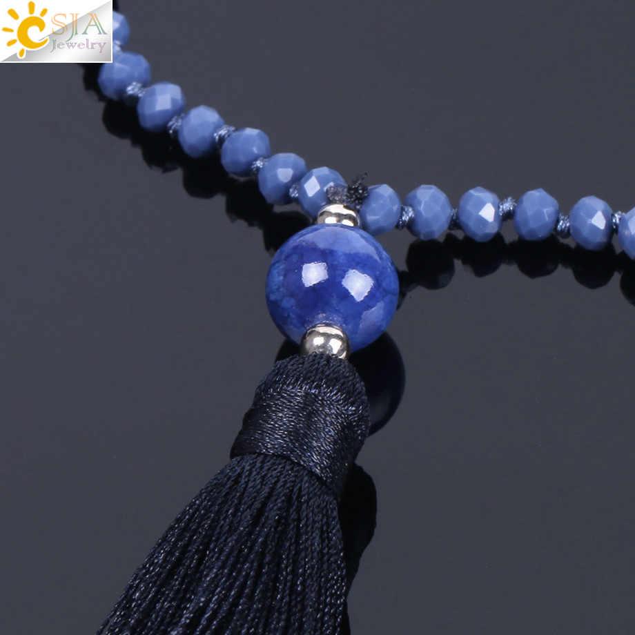 CSJA สีน้ำเงินเข้มสร้อยคอ Knotted Chain ลูกปัดคริสตัลสีมิตรภาพของขวัญผู้หญิงเครื่องประดับสร้อยคอยาว F183