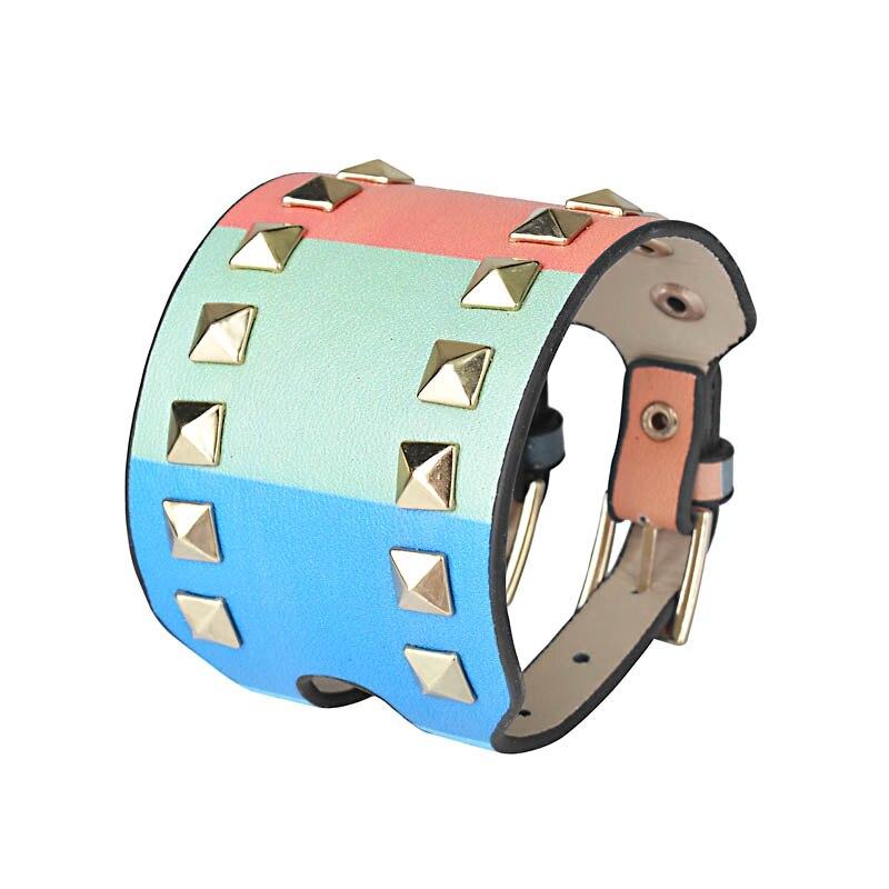 Kirykle-bracelet en cuir pour femmes, bijou Punk classique, nouveau Style, breloque multicolore, à rivets larges, à la mode 4